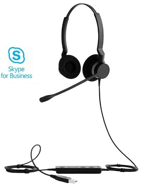 Jabra BIZ™ 2300 USB Duo, Type: 82 E-STD, Microphone boom: 360 degrees (headband), USB connector, with mute-button and volume control on the cord, Microsoft certified