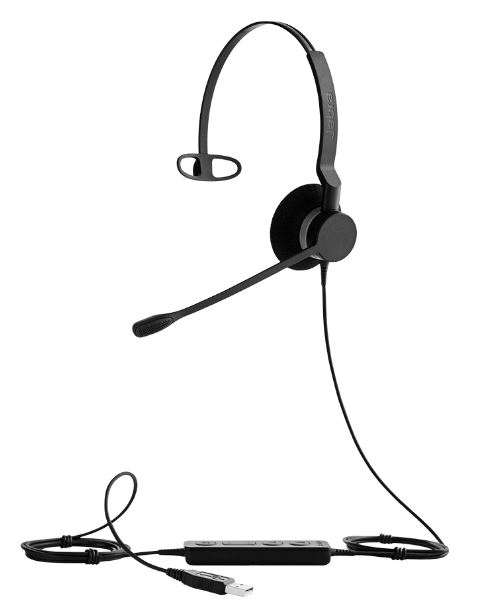 Jabra BIZ™ 2300 USB Mono, Type: 82 E-STD, Microphone boom: 360 degrees (headband), USB connector, with mute-button and volume control on the cord, Microsoft certified