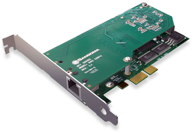 Sanogma A101DE Single Port T1/E1/J1 PCIe Card w/EC HW